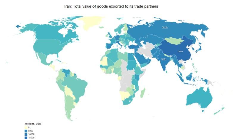 Иран: Общая стоимость товаров, экспортируемых торговыми партнёрами.