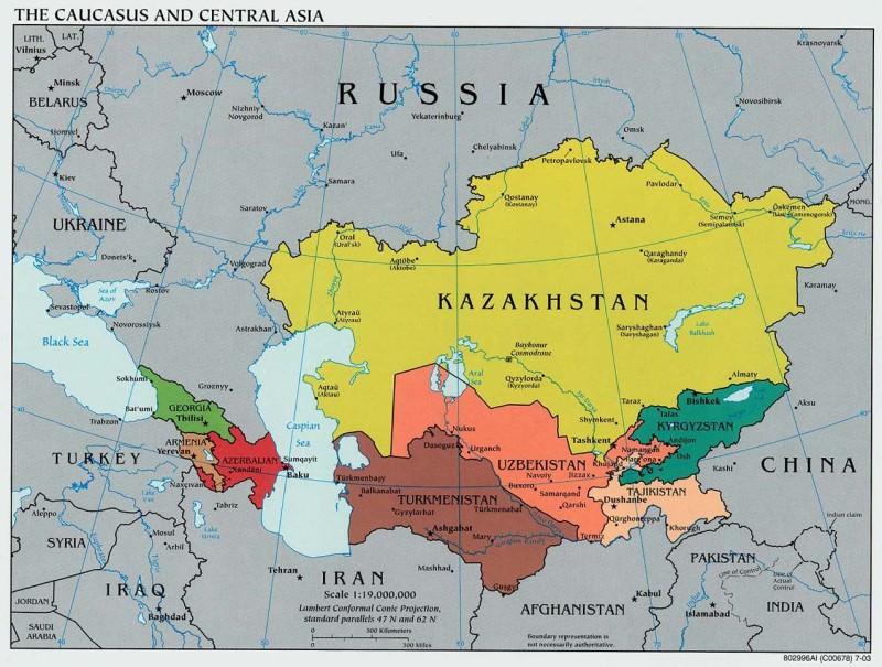 Казахстан и «станы» между Россией и Китаем: Карта Университета Техаса.