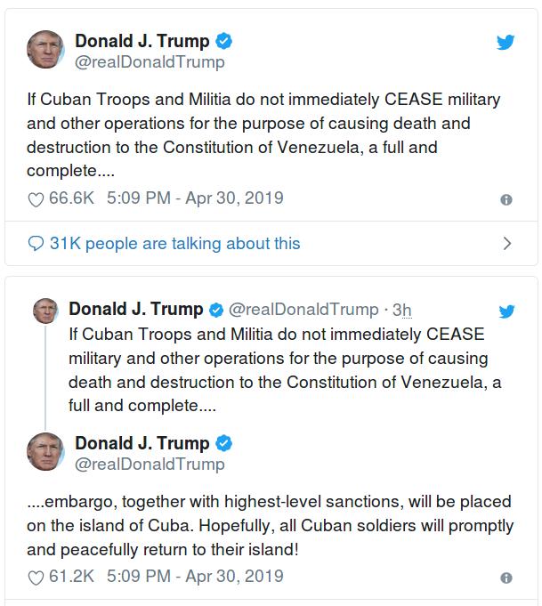 Твитт Трампа о Кубе