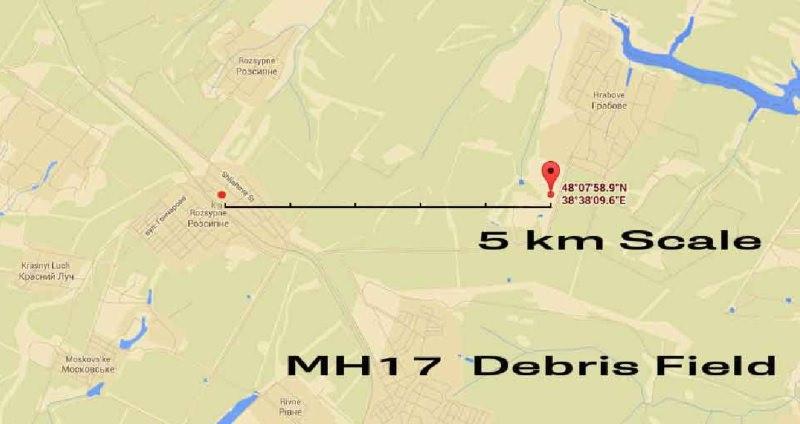 Траектория падения самолёта рейса МН-17