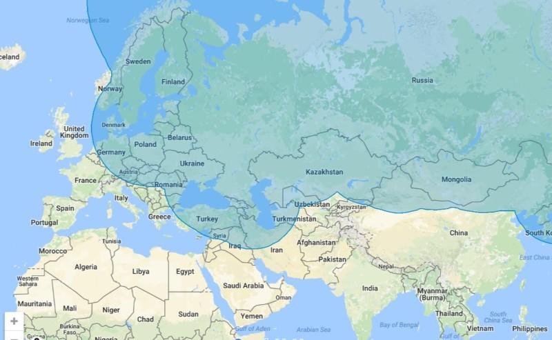 Вот как выглядят максимальные 1000 км на карте, где показаны западные и южные границы России