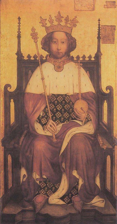 Ричард II. Возможно, самый ранний портрет суверена, написанный при жизни, и дошедший до наших дней. Копия, оригинал находится в Вестминстерском аббатстве.