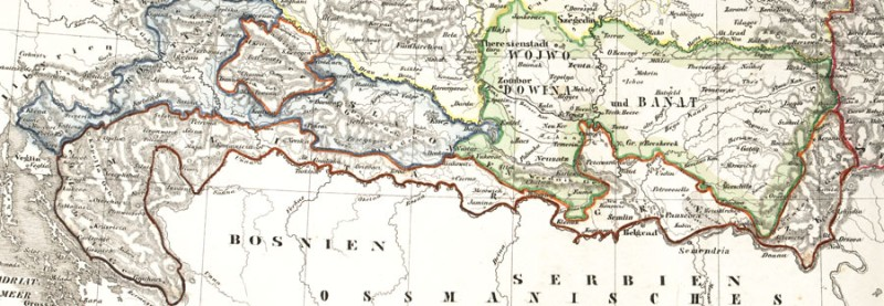 Карта Краины (красным) 1800 год.